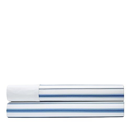 Ralph Lauren Queen Flat Sheet - Ralph Lauren Jobs Lane Striped Queen Flat Sheet Blue and White 100% Cotton