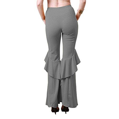 Volant Trousers Pants Leg Danse Wide Ample Haute Pilates Plage A Mode Clubwear Yoga Taille Patte Vintage D'eléphant Gris Pantalon Evase Bouffant De Décontracté Pantalons Fete Pour Casual Femme Soirée 6FBYqp