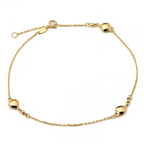LoveBling 10K Yellow Gold .50mm Diamond Cut Rolo Chain with 3 Puff Heart pendants Anklet Adjustable 9