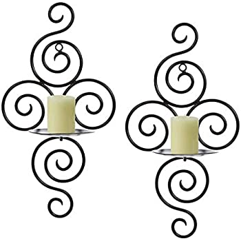 TYZT Classic Handmade Iron Wall Hanging Candlestick Candle Holder Sconce for Home Decoration 2 Pieces White