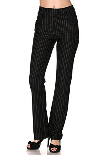 Ladies Pinstripe - 2LUV Women's Pull On Pin Stripe Stretch Fit Wide Leg Dress Pants Black L(SP-YE01-STRIPE)