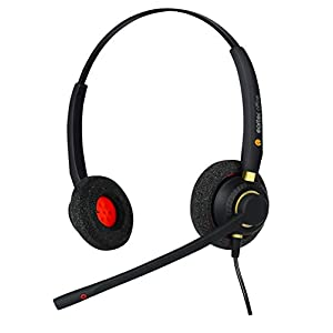 Headset for Polycom VVX 101, VVX 201, VVX 300, VVX 301, VVX 310 & VVX311 VoiP Phone + Free RJ9 Connection Lead - QD002(P…