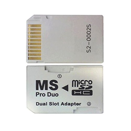 IDS Micro SD TF to Memory Stick MS Pro Duo PSP Card Dual 2 Slot Adapter Converter, White Memory Stick Pro Duo Converter