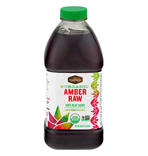 Madhava Naturally Sweet Organic Blue Agave Low-Glycemic Sweetener, Amber Raw, 46 Ounce (Pack of ()