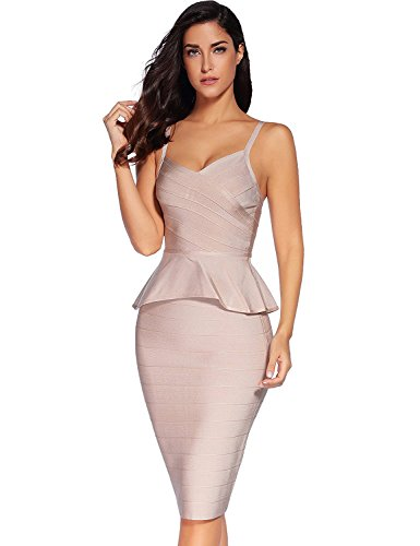 (Meilun Women Rayon Strap Falbala Midi Bandage Skirt Set Party Dress Beige)