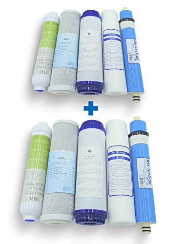 Filtros de Osmosis (2 JUEGOS). Kit Oferta Membrana + Filtros para Ósmosis Inversa. Filtros para osmosis 5 etapas. Universales. Modelo Jacar compatible 100x100. Recambio filtros osmosis. Filtros dep