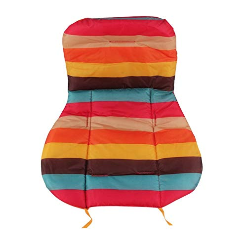 Portable Baby Stroller Seat Cushion Cotton Stripe Baby Car Waterproof Pad Stroller Accessories Pram Rainbow Cotton Thick Mat