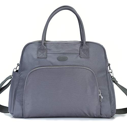 Lily & Drew Carry On Weekender Overnight Travel Shoulder Bag for 15.6 Inch Laptop Computers for Women (Grey V2) ()