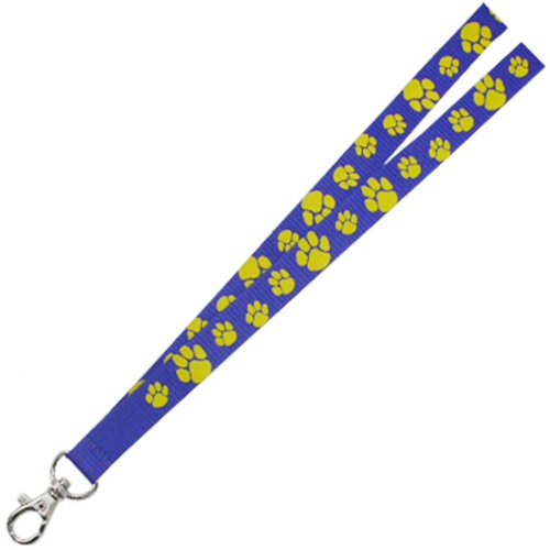 PinMart's Blue and Gold Paw Print School Mascot Sports Lanyard w/ Safety Release by PinMart