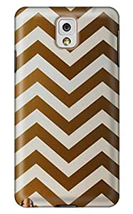 CaseandHome Golden and White Chevron Design PC Material Hard Case For Samsung Galaxy N9000 Note 3