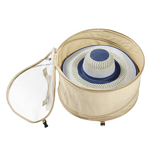 TIURE Large Hat Pop Up Bag Storage and Travel Box for Round Hats and Caps Expands to Required Size Keeps Out Dust and Dirt ()