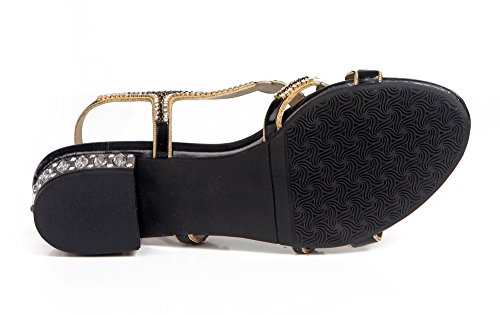 Design Sandals Women's Honeystore Rhinestones Black Low Party Heel Leaf Flower Shoes xRwITqB