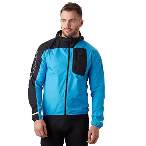 (GORE Wear Men's Windproof Hooded Running Jacket, GORE Wear R7 GORE Wear WINDSTOPPER Light Hooded Jacket, Size: M, Color: Dynamic Cyan/Black, 100105)