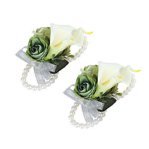 (Febou Wrist Corsage Pack of 2 Wedding Bridal Wrist Flower Calla Lily Wristband Hand Flower for Bride Bridesmaid Perfect for Wedding, Prom, Party (Wrist Flower, B-White))