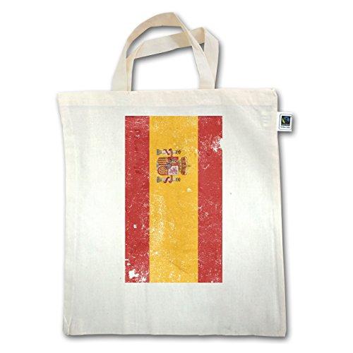 Länder - Spanien Flagge Vintage - Unisize - Natural - XT500 - Jutebeutel kurzer Henkel