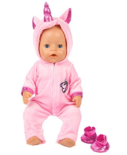 ebuddy 2pc/Set Unicorn Costume Jumpsuit Doll Clothes with Shoes for 43 cm New Born Baby Dolls/ 15 inch Bitty Baby Dolls, Pink -