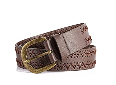 Mens Dark Brown Wide Western Genuine Designer Leather Golf Dress Belt with Stitching Edge Silver Metal Prong Buckle
