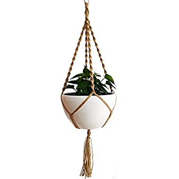 24 Strings 100% Jute Macrame Plant Hanger 4 Legs 51 Inch For Indoor Outdoor  Patio