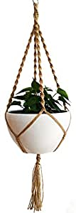 More Stronger 24 strings 100% Jute Macrame 4 Legs 51 Inch For Indoor Outdoor Patio Deck Ceiling Round & Square Pots,Unique Design, Hand Knotted Retro Feeling & Unmatched Finesse for Pot 12 inch (Jute)