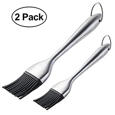 Silicone Basting Brush BBQ Grill Pastry Brush for Baking and Cooking, Safe Heat Resistant, Stainless Steel Handles, Set of 2, with Free Wall Hook, 12 Inch/8 Inch