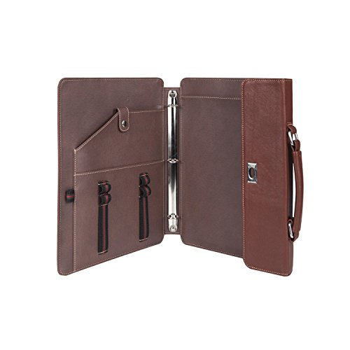 Brown Professional Business Portable Portfolio Organizer Genuine Goatskin Leather Compact Padfolio Case Bag for Custom by ZYiKai