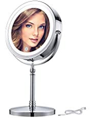 BRIGHTINWD 7X Makeup Mirror with Lights, Rechargeable Magnifying Lighted Makeup Mirror, 7 Inch Brightness Adjustable Double Sided LED Vanity Mirror with Magnification, Wireless Portable Mirror Lights for Makeup in Bathroom or Bedroom