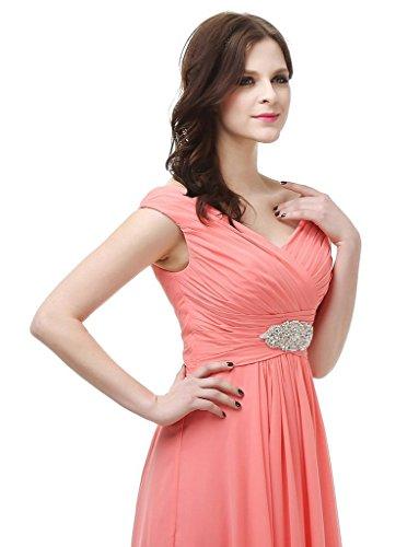 jydress womes cuello de pico gasa largo vestido de fiesta formal vestido novia gris