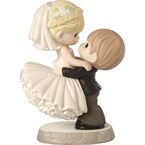 (Precious Moments 172007 Best Day Ever Bride & Groom Bisque Porcelain Figurine & Wedding Cake Topper)