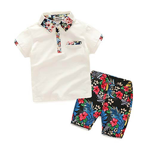 Infant Baby Boys Cotton 2 Pieces Clothing Set Polo Tops Tee with Floral Shorts White 120 - Kids 3 Piece Outfit