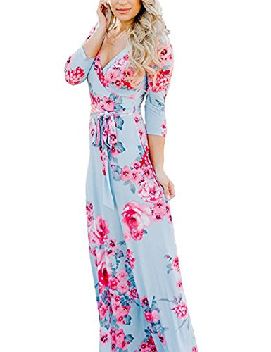 (YUMDO Women's V Neck 3/4 Sleeve Floral Print Faux Wrap Long Maxi Dress Belt Light Blue)