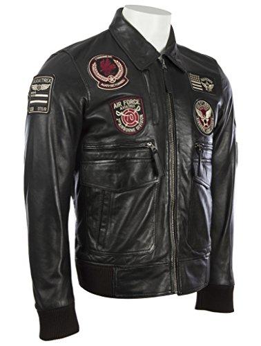 aviación MDK con las los suave cuero de super genuina elegante chaqueta hombres Negro ultra por de 100 divisas la La de 7qwHTn