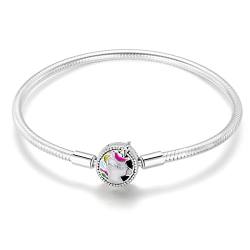 Charm Bracelet fit Pandora Charms 925 Sterling Silver Basic Snake Chain Bracelet for Women Girls, Signature Bracelet with Sparkling Round Clasp Charm Clear CZ FQ00016 (Unicorn 7.5inch Bracelet)