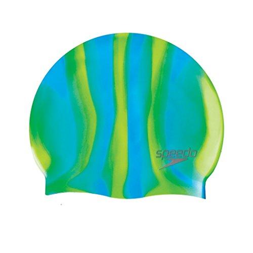 Speedo Kinder Badekappe Multi Colour Silicone Cap, Green/Blue, One Size (Kinder), 8-70993A084