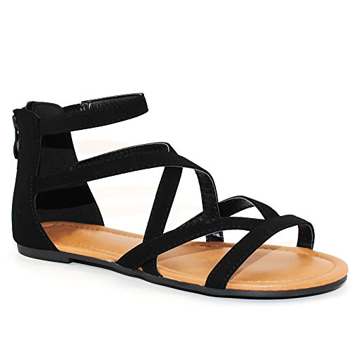 TRENDSup Collection Womens Flats Sandals (8, Black)