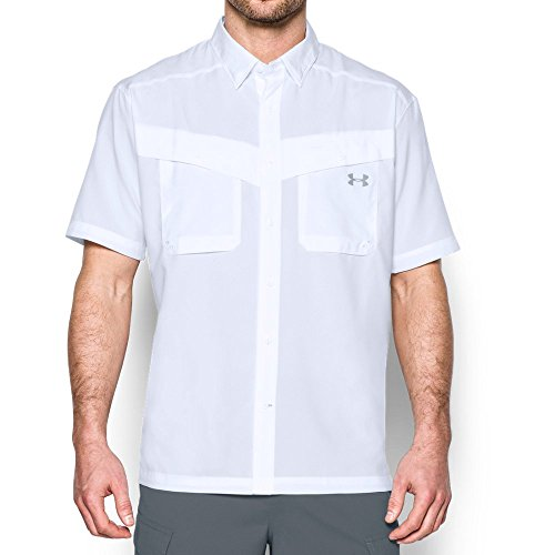 Button Down Dry Tech Shirt (Under Armour Men's Tide Chaser Short Sleeve, White/Steel, Medium)