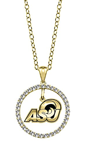 Angelo State Rams 14kt Yellow Gold and Diamond Circle Charm Pendant by College Jewelry