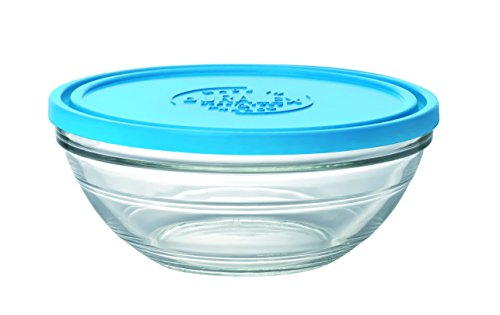 Duralex Made In France Lys Round Bowl with Lid, 2.5 quart, Clear/Blue
