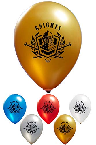 Knights Balloons - 2 Sided Print | 12'' Latex Balloons (16-Count) for Birthday Parties or Event Use | Fill with Air or Helium -