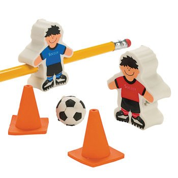 Soccer Ball & Player Erasers - Basic School Supplies & Erasers & Pencil Toppers - Oriental Soccer Ball