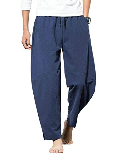 - Banana Bucket Men's Casual Baggy Pants Drawstring Cotton Loose Harem Pants