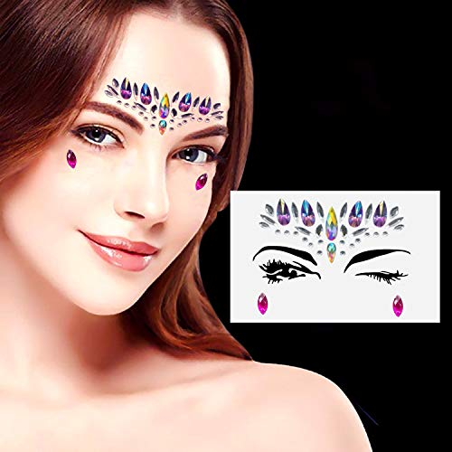 10 Sets Mermaid Face Gems Glitter - Rhinestone Rave Festival Face Jewels 0225b56f923d
