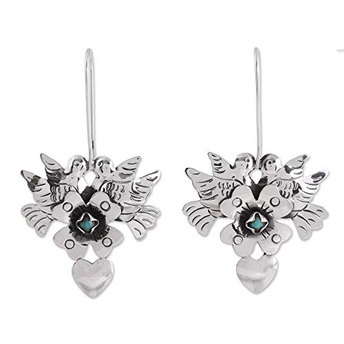 - NOVICA Natural Turquoise 925 Sterling Silver Drop Earrings, 'Calm and Compassion'