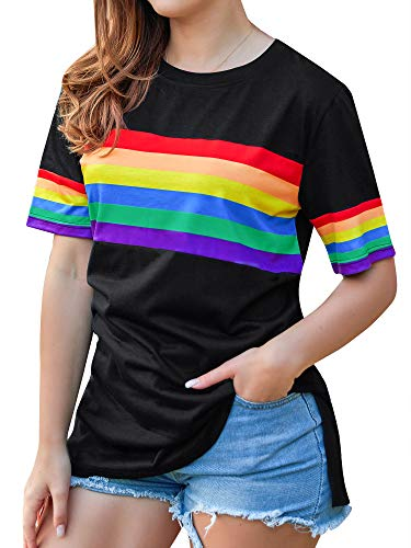 OUNAR Women Tank Top Rainbow Camisole Striped Crop Top Short Sleeve T-Shirt Casual Pullover Vest (1-Black, S)