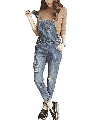 Salopettes Femme Svelte Pantalon Jeans Pour Femme Combinaison De Trou Barboteuse Bleu Fonc