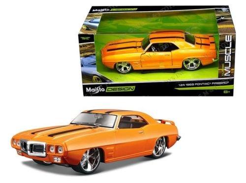 New 1:24 W/B CLASSIC MUSCLE - ORANGE 1969 PONTIAC FIREBIRD Diecast Model Car By (Firebird Diecast Model Car)