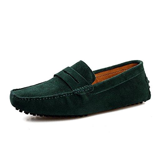 Minitoo Men'neuen Knoten Suede Boat Shoes Slipper Penny Fahren, Grün - grün - Größe: 41
