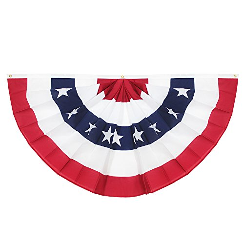 Anley USA Pleated Fan Flag, 3x6 Feet American US Bunting Flags Patriotic Stars & Stripes - Sharp Color and Fade Resistant - Canvas Header and Brass Grommets - United States - Pleated Bunting Fan