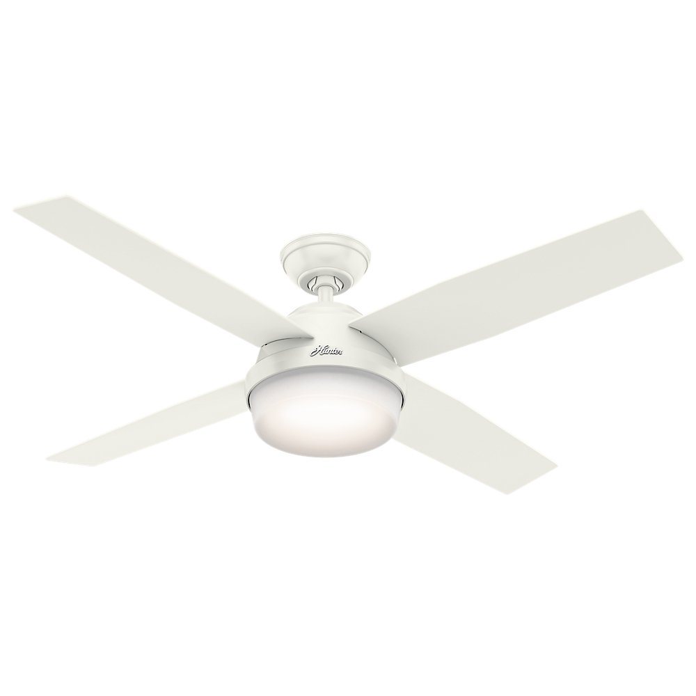 Hunter 59252 Contemporary Dempsey Damp Fresh White Ceiling Fan With Light & Remote, 52''