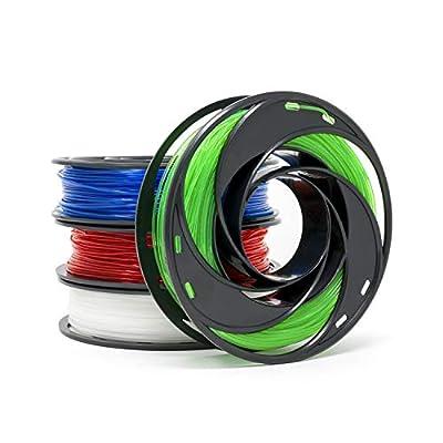 Gizmo Dorks 3D Printer Filament 1.75mm 200g, 4 Color Pack - Flexible Red, Polycarbonate Blue, Nylon Clear, PETG Green