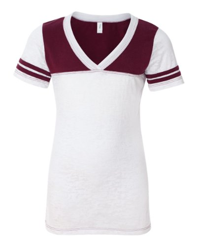 Blue 84 - Juniors' Burnout V-Neck Football T-Shirt - JBV - White/ Maroon - Small - Burnout Football